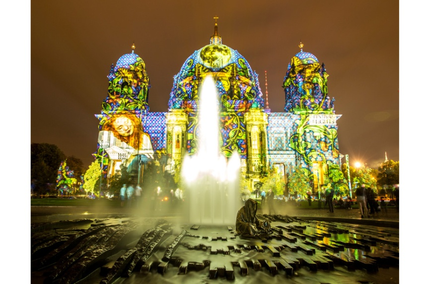 The Berlin cathedral (Berliner Dom) illuminated during 2014 Festival of Light