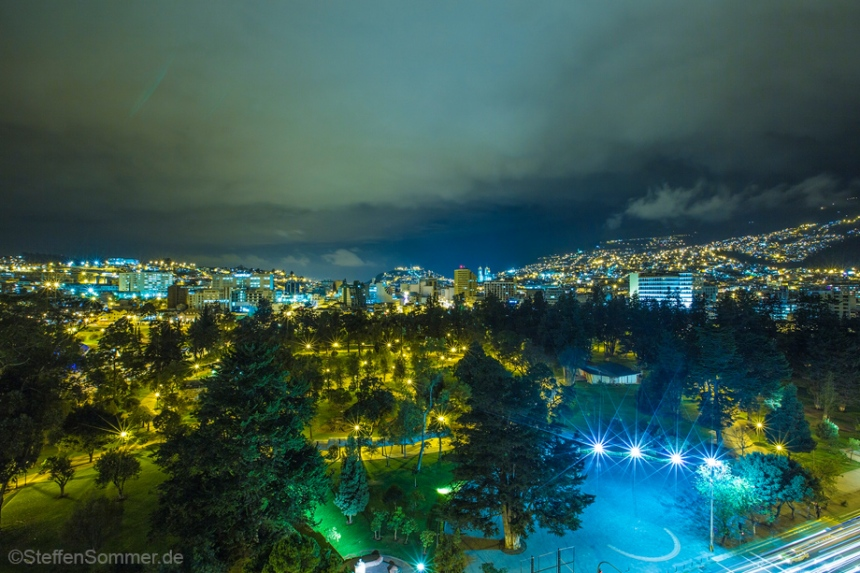 View over the El Ejido Park in Quito, Ecuador.